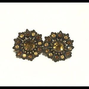 Jewelry - Sunflower Crystal Amber Rhinestone Earrings